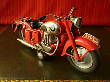 Extremely Rare Large Bandai Japan Tin Friction RED BMW 500 Motorcycle