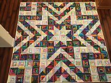 "Handmade king size scrappy batik quilt 112"" x 112"" Log Cabin Star pattern"