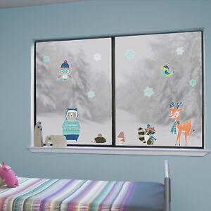 Winter woodland window stickers   Christmas window stickers   Window decor