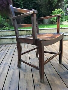 Set Of 8 Vintage Antique Wooden Old Rectory Dining Chairs With Arms