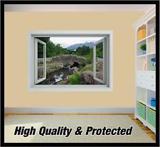 Bridge 03 Window - 3d River Landscape Wall Printed Vinyl Sticker Decal Mural Large 645mm X 900mm