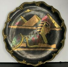 "Egyptian Sphinx Inlaid Figure Vintage Copper Brass Plate 9 3/4"" Egypt Embossed"