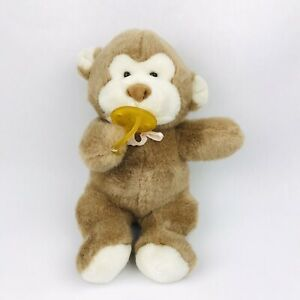 "Baby Monkey 11"" Plush Pacifier Stuffed Animal Toy Brown Soft Pink Ribbon Bow"
