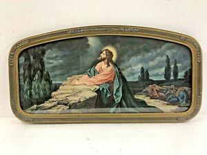 Vintage Framed Picture JESUS PRAYING In Garden Of Gethsemane Ornate Framed 30s