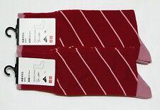 UNIQLO 2-Pairs Men Extra Fine Cotton Stripe Socks LYCRA Red (076849)