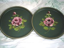 Pair French Country Green Tole Dresser Vanity Trays Hand Painted Pink Roses