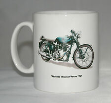 Motorbike Mug. Velocette Thruxton Venom & Badge hand drawn illustrations.