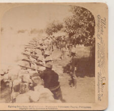 Washington Volunteers Stone Wall Defenses Taquig Philippines Stereoview 1898