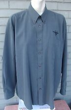 Weatherproof Mens Gray Jet Airplane Fighter Pocket Button Shirt Size Large