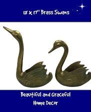 Vintage Huge Brass Love Swans Floor Planters, Hollywood Regency, circa 1960's