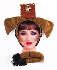 Brown Dog Kit Puppy Plush Cloth Tail Ears Headband Hat Mask Set Adult Kid Funny
