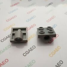 2 X  Lego Technic 2444 Plate, Modified 2 x 2 with Hole - Light Bluish Gray