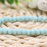 20-100Pcs Light Blue Faceted Natural Crystal Glass Loose Spacer Beads 4/6/8/10MM