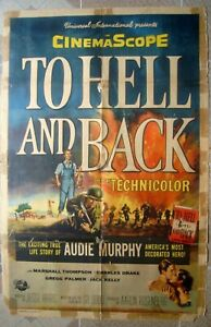 """TOHELL & BACK One Sheet US Audie Murphy Film Movie Poster 27x41"""" 55/336 Good C6"""