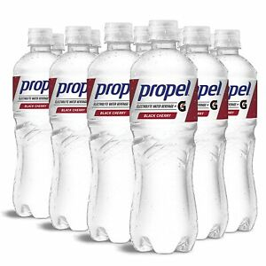 12 PACK Propel Black Cherry Zero Calorie Water Beverage With Vitamins C&E 24 oz