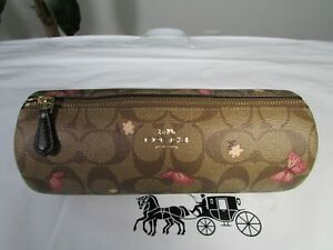 NWT Coach Signature Butterfly Makeup Holder Cosmetic Case 2459 Khaki Pink Multi