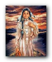 Indian Maiden At Sunset Native American Wall Decor Art Print Picture (8x10)