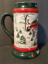 BUDWEISER CHRISTMAS HOLIDAY STEIN 1991 The Seasons Best Xmas Clydesdales