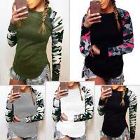 Plus Women Blouse Camouflage Shirt Long Sleeve Top Tunic Loose Baggy T Shirt