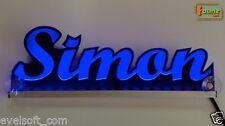 """LED LKW Trucker Leuchtschild Namensschild """"Simon"""" Wunschname 12 24V blau ©faunz"""