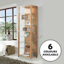 HOME Tall Glass Display Cabinet Double Oak 4 Shelves & Light