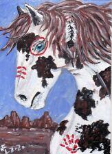 ACEO Original White pinto Nativ-American war horse