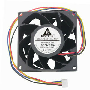 DC24V 0.35A 8038 8cm 80x80x38mm 4-pin double ball bearing high speed cooling fan