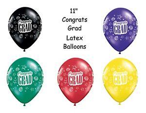 """Congrats Grad Latex Balloons, Graduation Party Decor 11"""" Qualatex You Choose 10p"""