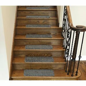 Stair Tread Carpet Rug Rectangle Stain Resistant Wood Protector Non Slip Gray