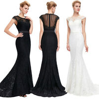 Formal Wedding MERMAID LACE Long Evening Gown Party Prom Cocktail Dress Banquet
