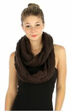 B168 Cable Knit Chunky Yarn Chocolate Brown Infinity Scarf Boutique