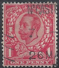 "Great Britain Stamp - Scott #154/A81 1p Scarlet ""George V"" Canc/Lh 1912"