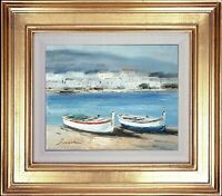 Gold Framed Seascape Oil Painting on Canvas, Morning Harbor, J Norton Signed