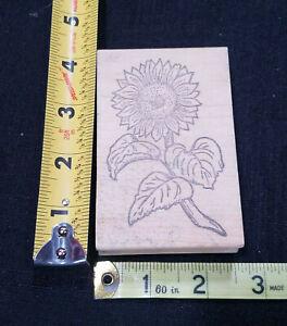 Garden Sunflower Floral Rubber Stamp Wood Mounted Stamp Affair