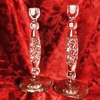 """Clear Crystal Candlestick Pair Taper Candle Holders Diamond 12"""" Starburst Base"""