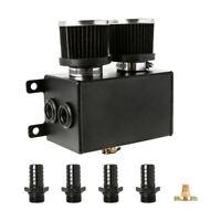"Aluminium Baffled Engine Oil Catch Can 4x 3/4"" 4 Port Breather Dual Filter Black"