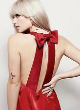 NEW Free People red Satin Open Back Bow V Neck Midi Dress L