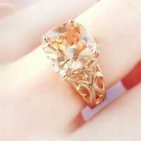 Fashion Women 18K Yellow Gold Filled Morganite Ring Wedding Gifts Jewelry