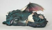 blauer schlafender Drache mit Baby Drache Fantasy Figur, 20,5 cm lang