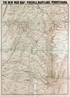 MAP ANTIQUE USA CIVIL WAR VIRGINIA MARYLAND LARGE REPLICA POSTER PRINT PAM1260