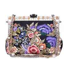 DOLCE & GABBANA Floral Brocade Crystals Sequins Clutch Bag VANDA Black 06598
