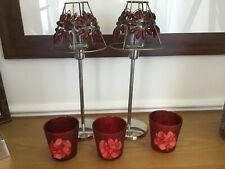 LIBERTY TEALIGHTS. TWO TALL RED TEALIGHT HOLDERS + 3 SHORT CANDLE HOLDERS