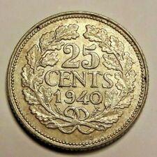 25 Cents 1940 Wilhelmina Niederlande  .640 Silber 3,6 g KM#164 Nederlands