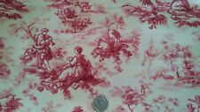 """Red Toile on Cream Deco Weight fabric 100% cotton 18x21"""" SewQuilt New LAST 1"""
