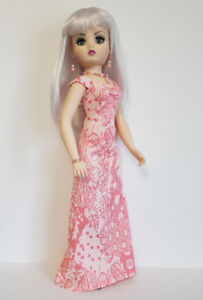 "CISSY DOLL CLOTHES CORAL Gown & Jewelry set 21"" handmade Fashion NO DOLL d4e"