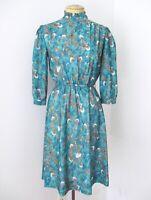 Vtg 70s 80s Green Blue Feathers Modest Secretary Dress Puff Slv Ruffle Petite? S