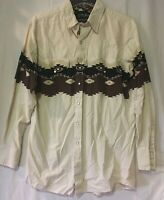 White Horse PEARL SNAP WESTERN long sleeve shirt men's Large Aztec pattern