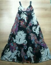 NEXT SIZE 12 BLACK CHIFFON FLORAL MAXI DRESS FULLY LINED IMMACULATE FREE P&P
