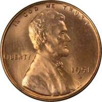 1951 S 1c Lincoln Wheat Cent Penny US Coin BU Uncirculated Mint State