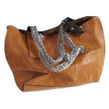 "NWOT Alligator Stamped Zipper Handbag, Chain Straps, Open Tote Style 21""x12""x5"""